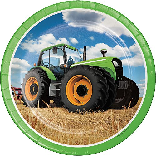 """Creative Converting Tractor Time Round Paper Plates (8 Count), 8.75"""""""