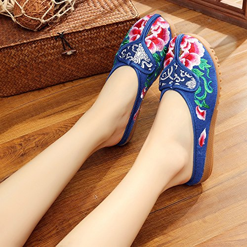 WXT Peony zapatos bordados, lenguado de tendón, estilo étnico, flip flop femenino, moda, cómodo, sandalias Blue