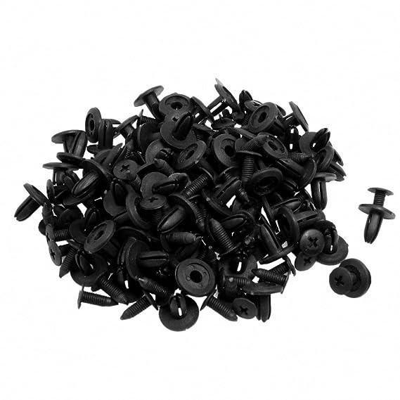 SODIAL (R) 100 pz auto Parafango spinta in plastica del tipo di Rivetti Fastener Nero 15 x 13 x 6 mm