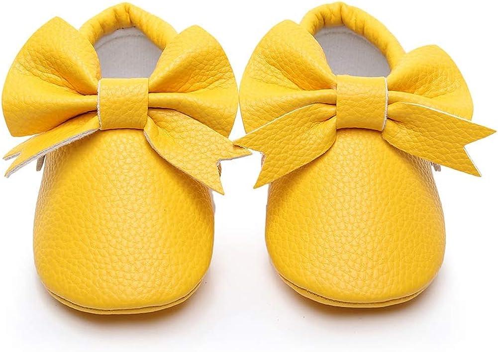 Miyanuby Zapatos Bebe Niña - Bowknot Zapatillas de Cuero Sintético Niña - Zapatitos Primeros Pasos - Pantuflas Infantiles 0-3 Meses 3-6 Meses 6-12 Meses 12-18 Meses 18-24 Meses