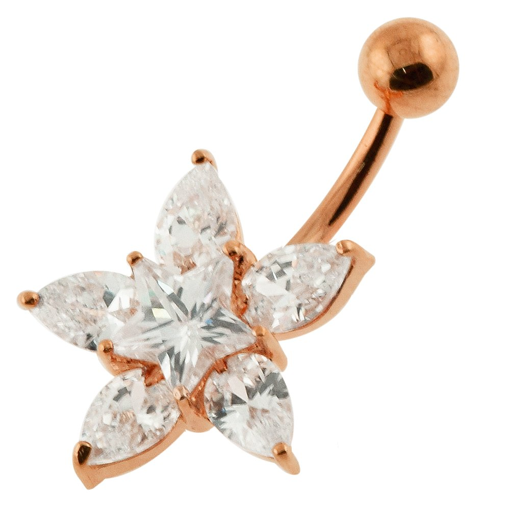 18K Rose Gold Plated on Clear CZ Stone Fancy Flower Star 925 Sterling Silver Navel Ring