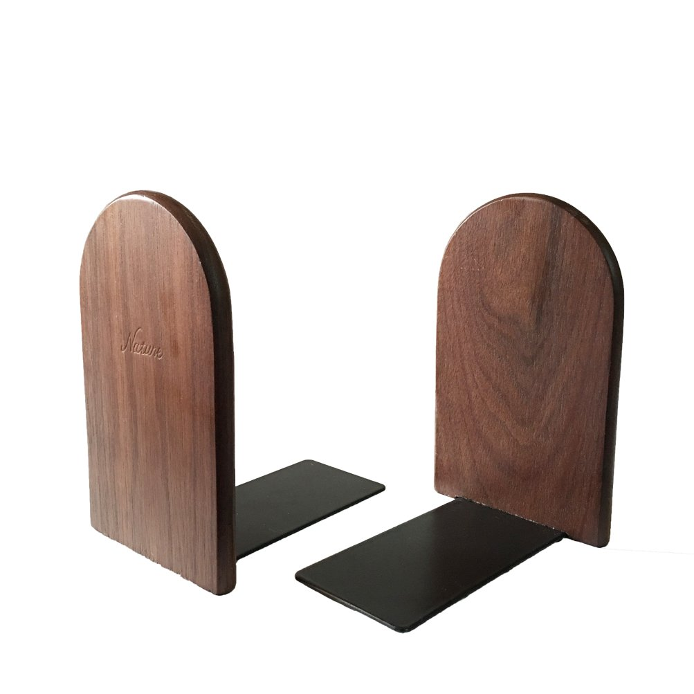 1Pair Simple Style Black Walnut Wood Bookends Bookend For Library School Study Home Office Gift (Round)