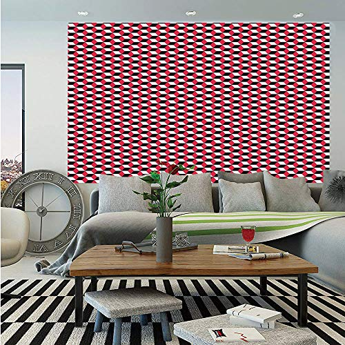 Abstract Huge Photo Wall Mural,Cubes Three Dimensional Style Optical Illusion Pattern Diagonal Shapes Decorative,Self-Adhesive Large Wallpaper for Home Decor 108x152 inches,Dark Coral Black White