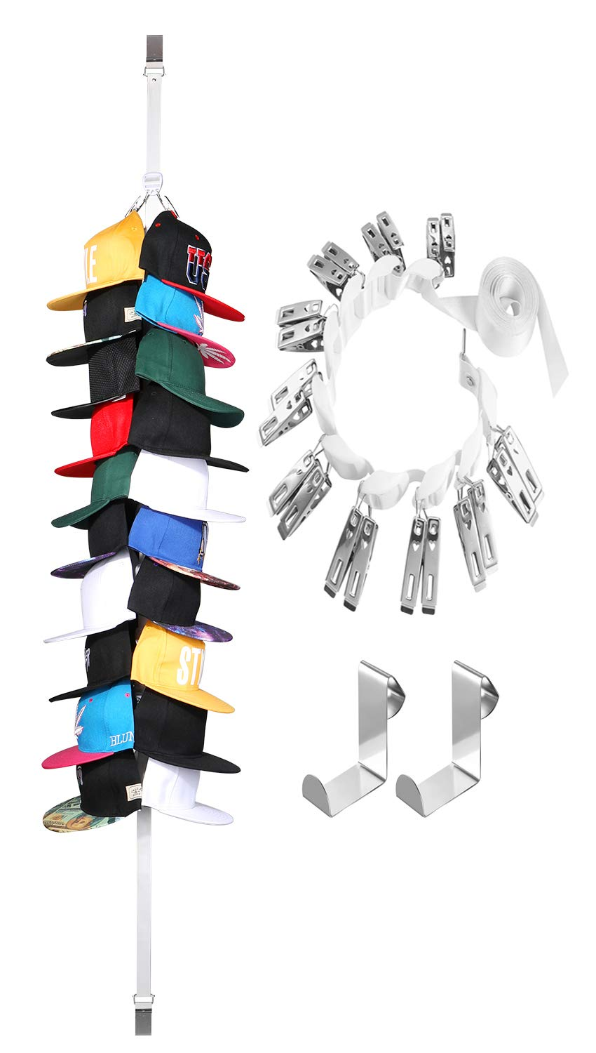 UTOWO Cap Rack for Baseball-Cap Organizer-Holder-Storage - Adjustable Display Any Style Hat-Rack for Door Closet Wall