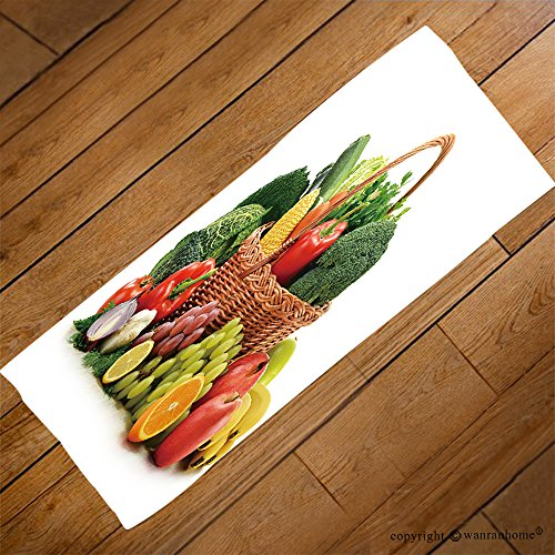 VROSELV Custom Towel Soft and Comfortable Beach Towel-composition with vegetables and fruits in wicker basket isolated on white Design Hand Towel Bath Towels For Home Outdoor Travel Use 23.6