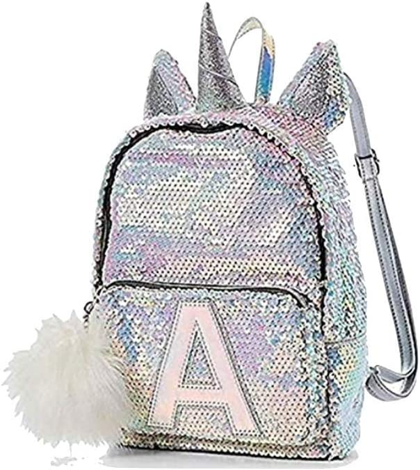 Justice Flip Sequin Mini Small Backpack Bleach White Unicorn Initial letter O