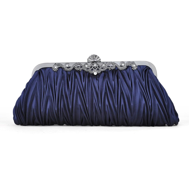 TopTie Pleated Satin Clutch, Dark Blue Evening Handbag, Gift Idea ...