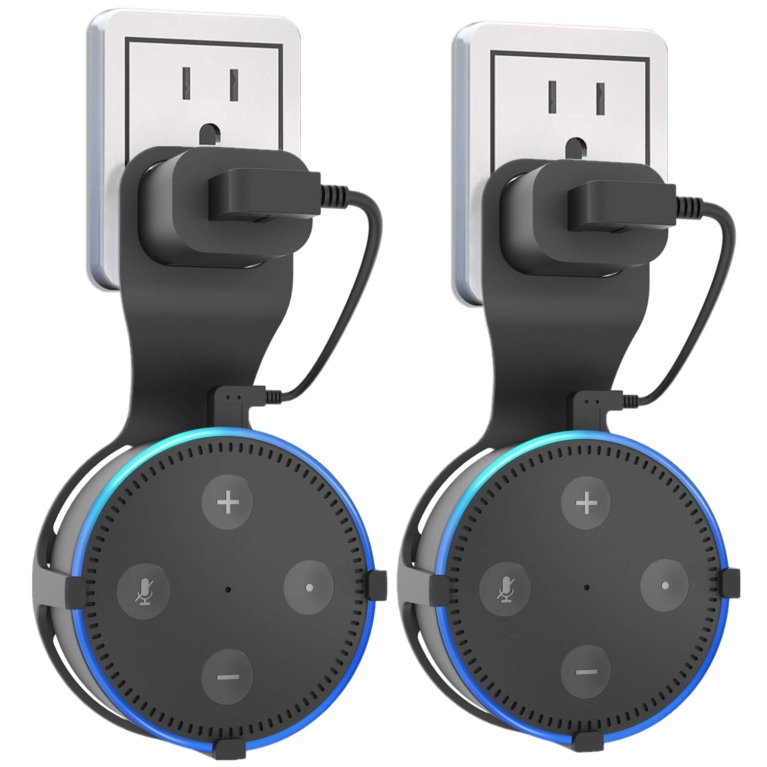 2pcs Black Outlet Wall Mount Hanger Stands Accessories A Space-Saving Solution for Your Smart Home Speakers Without Messy Wires or Screws Dot Kids Edition Huishang Holder for Dot 2 2nd Generation