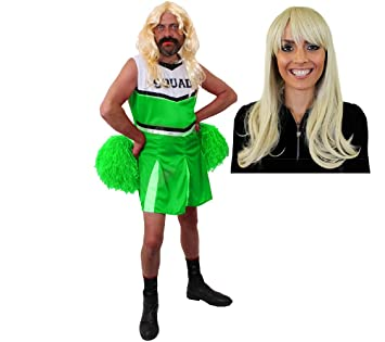 Ilovefancydress Manner Jungesellenabschied Grunes Cheerleader Kostum