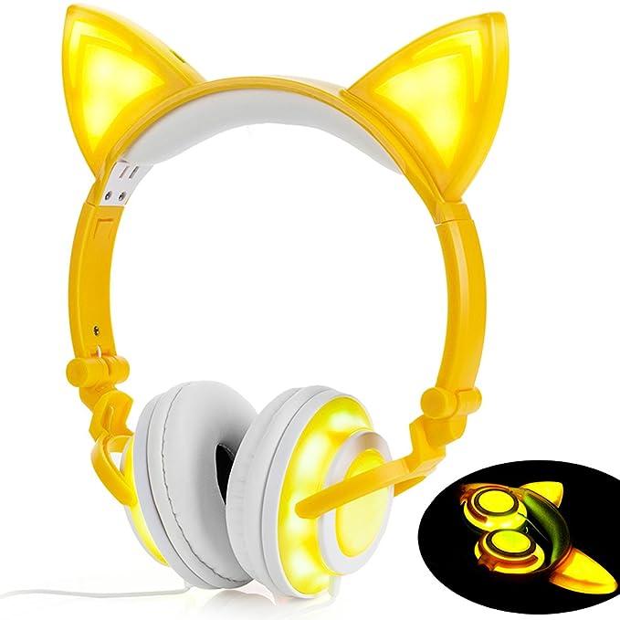 LIMSON Auriculares Sobre la Oreja con Oreja de gato, Headphones Plegables Recargables LED luz Brillante Headset para Niños, Adultos, Niñas R107 (Amarillo): ...