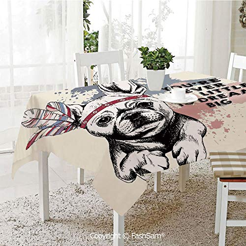 AmaUncle 3D Print Table Cloths Cover Animal Pub Dog with Tribal Feathers and Inspirational Quote Print Table Protectors for Family Dinners (W55 xL72)]()