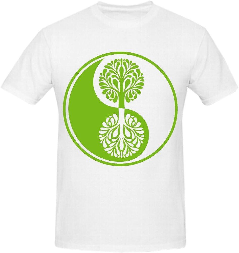mmaza Yin Yang árbol hombres personalizados o cuello camisa blanco: Amazon.es: Ropa y accesorios