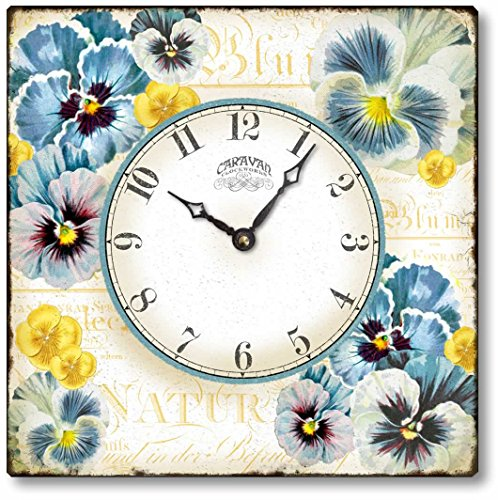Vintage Style  Pansies Clock - cute shabby chic wall clock