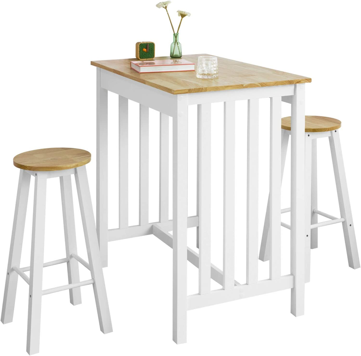 SoBuy FWT9 WN 9 Piece Bar Table Set with 9 Bar Stools Bistro Table Kitchen  Bar Table White / Natural