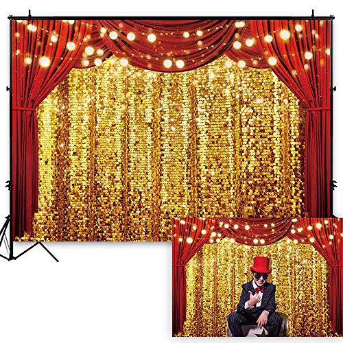 Funnytree 7x5ft Durable Fabric Golden Glitter Red Curtain Photography Backdrop with Pole Pocket No Wrinkles Circus Carnival Sparkly Sequin Background Baby Birthday Party Decoration Banner Photo Booth