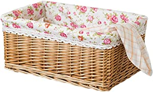 QNZ Picnic Basket Willow Rattan Woven Storage Basket Desktop Snacks Food Organizer Books Container with Floral Pattern Linen Cloth,Hand Woven Basket