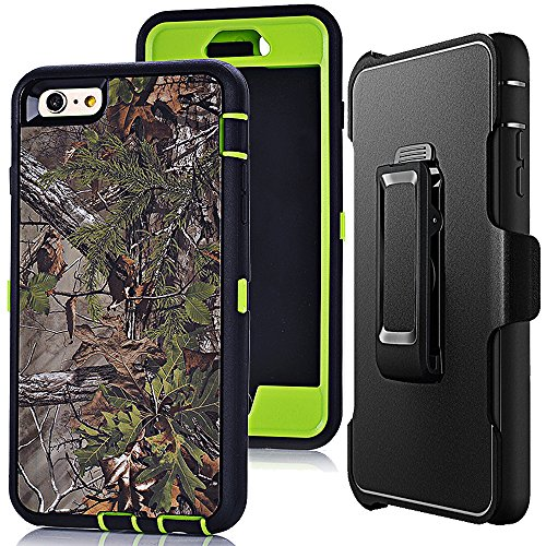 iphone 6s Plus Holster Case,Auker 3 in 1 Shockproof Heavy Duty Defender Camo Series Drop Scratch Resistant TPU Rubber Built-in Screen Protector Hybrid Rugged Case with Belt Clip for iphone 6+(F-Green)