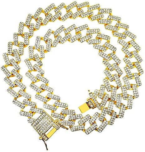 HH Bling Empire Iced Out Cuban Link Chain for Men Women Silver Gold Multicolored Diamond Cuban Chains in 7 8 9 16 18 20 24 30 Inches