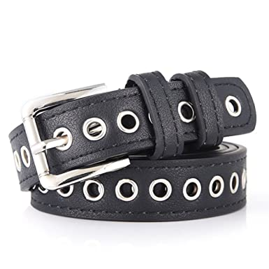 8ecbf12d43d Women's Leather Belt Skinny Punk Grommet Adjustable Hole Waist Belt ...