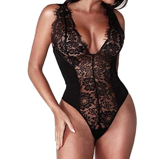 Women Nightwear WILLTOO Sexy Lingerie G-String Babydoll Sleepwear Stylish Bodysuit (Black, M