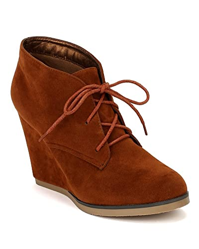 af18a42f98d Nature Breeze Women Suede Lace Up Round Toe Wedge Bootie AF49 - Tan (Size