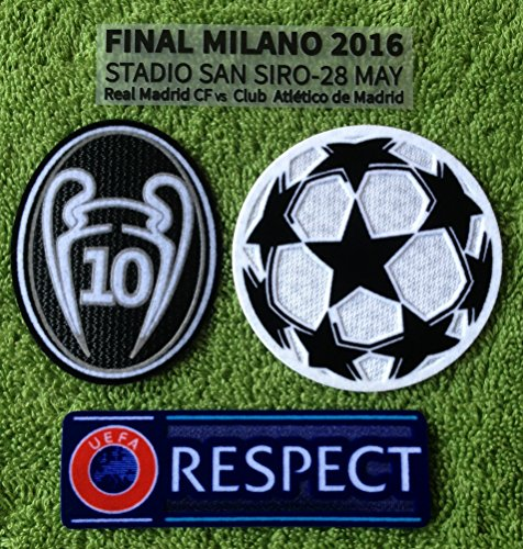Real Madrid FC Uefa Champions League Final 2016 Patch Set Soccer Jersey Badges Football Shirt Patches (Match Details / Trophy 10 of Honor / Uefa Starball + Respect)