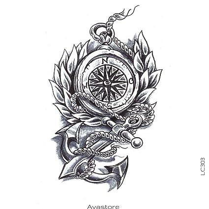 Tatuaje Temporal ancla y brújula Marine avastore: Amazon.es: Belleza