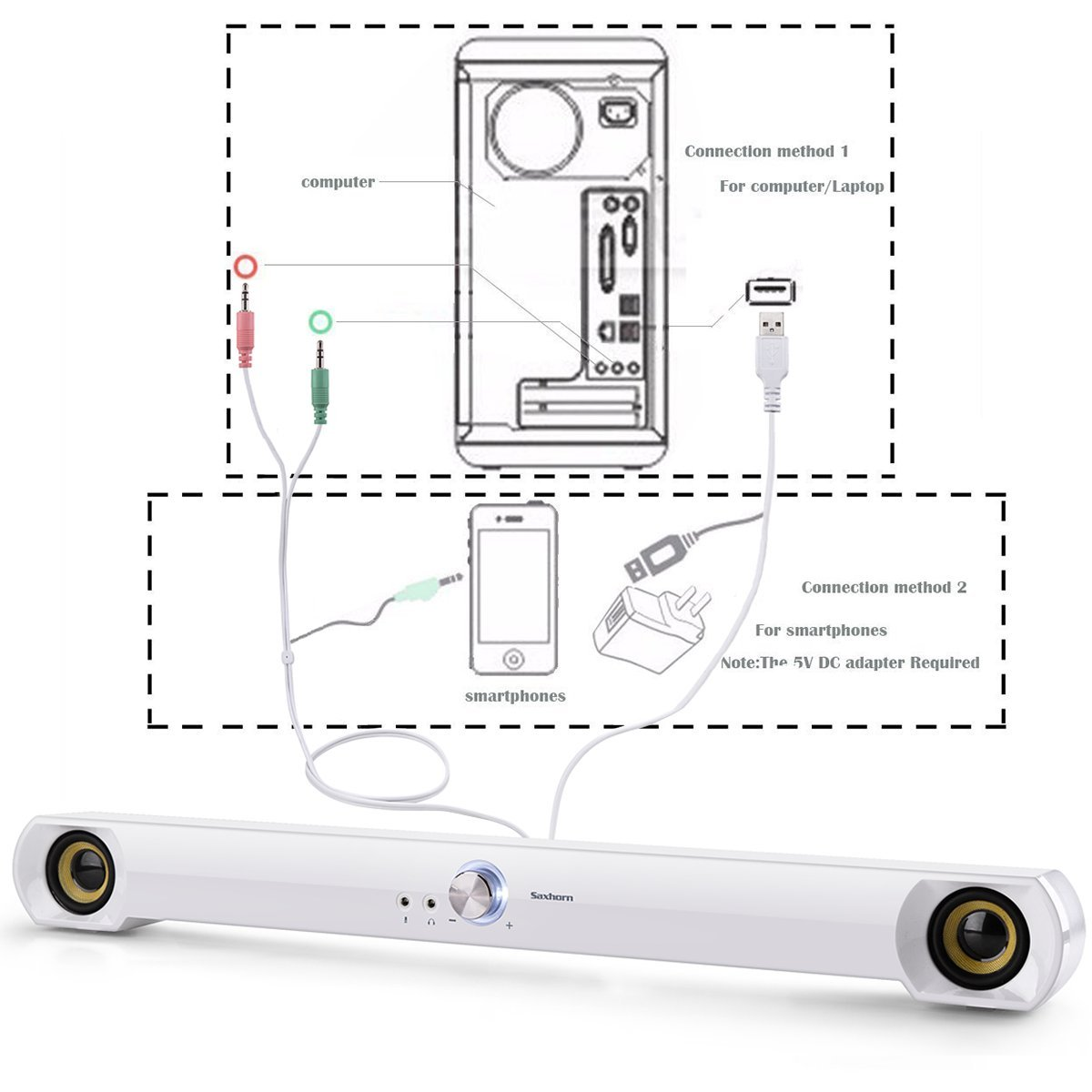USB Powered Saxhorn Computer Speakers Sound Bar for Computer//Desktop//Laptop PC White