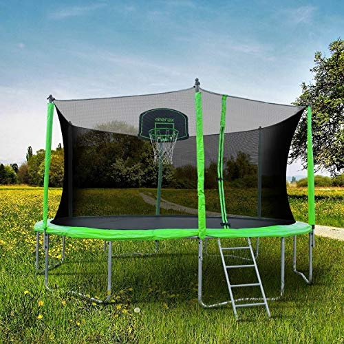 Merax SW000011FAA 12' Round Trampoline with Safety Enclosure, Basketball Hoop & Ladder by Merax (Image #2)