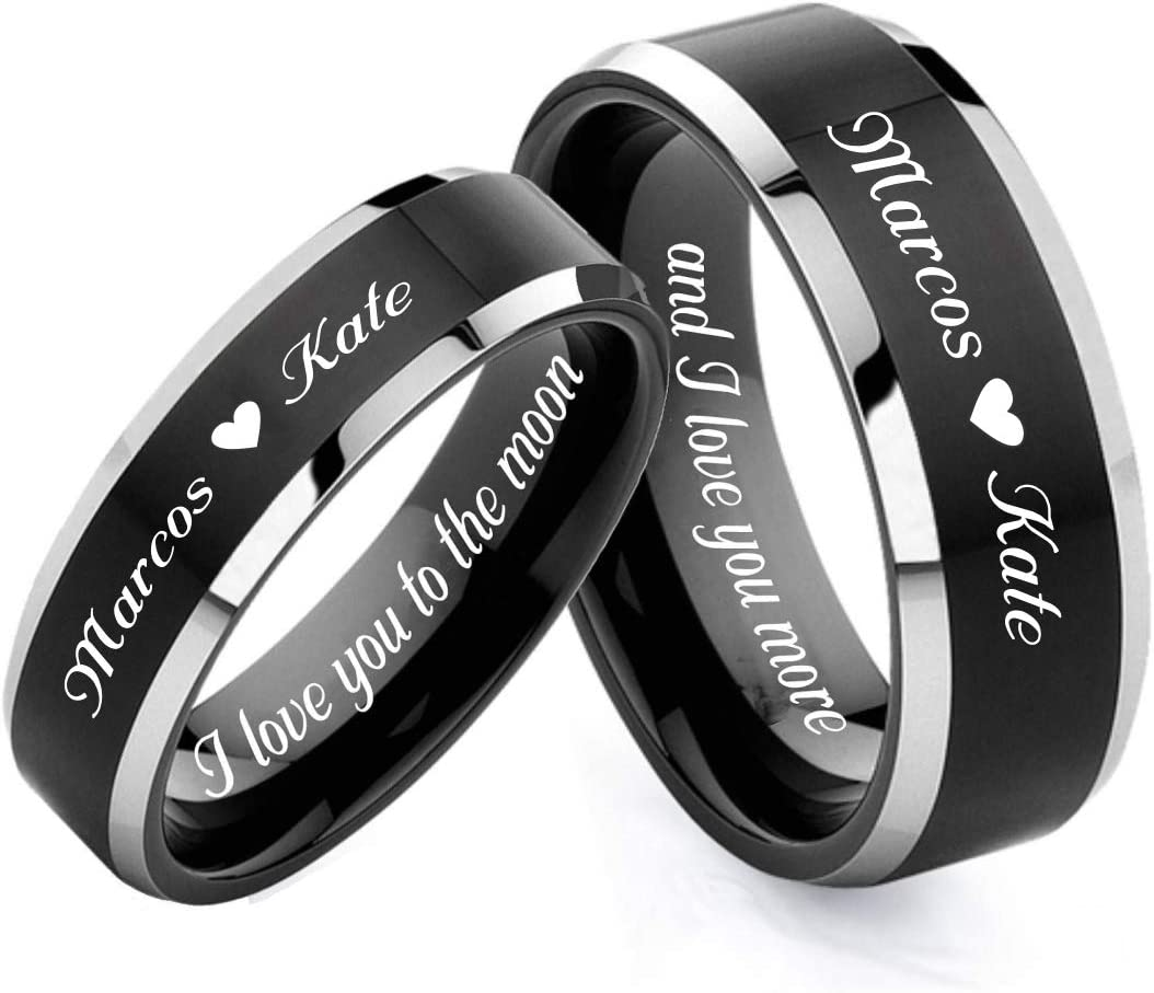 Personalized Wedding Band Black & Silver Two Tone Ring Couples Ring Set Custom Engraved - Ships from USA