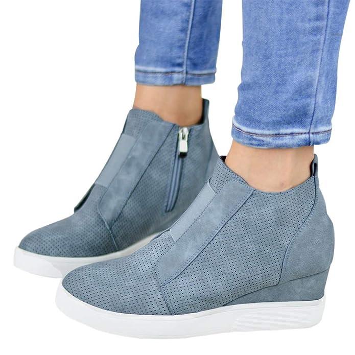 FIRENGOLI Baskets Compensées Femme Boots Hiver Chelsea Chaussures De Sport  Plateforme Montante Bottine Plates Cheville  Amazon.fr  Chaussures et Sacs 26ae12ae22a6