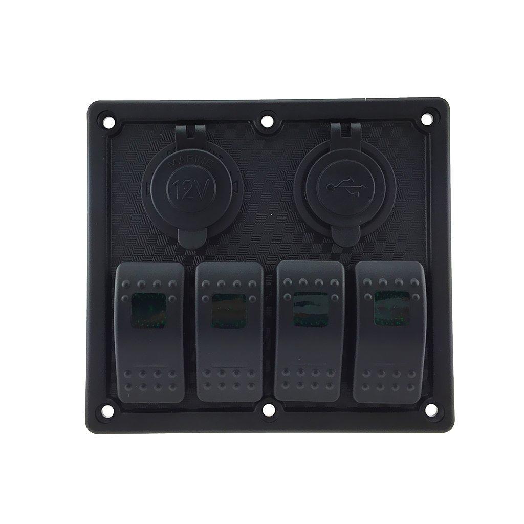 MagiDeal 4 Pulsante Switch Gang Pannello Marine con 2 USB Porta LED Verde Pannello Rocker Switch 12V per Marino Barca Camper