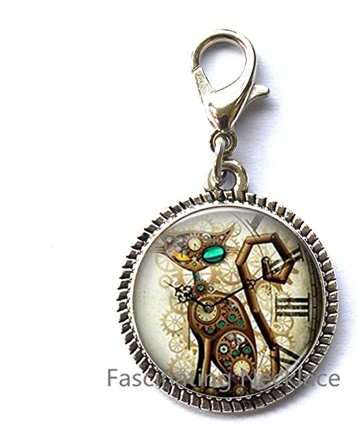 Gifts for Her Gifts for Him Steampunk Cat Zipper Pull Steampunk Cat Zipper Pull Steampunk Retro jewelry Birthday gift