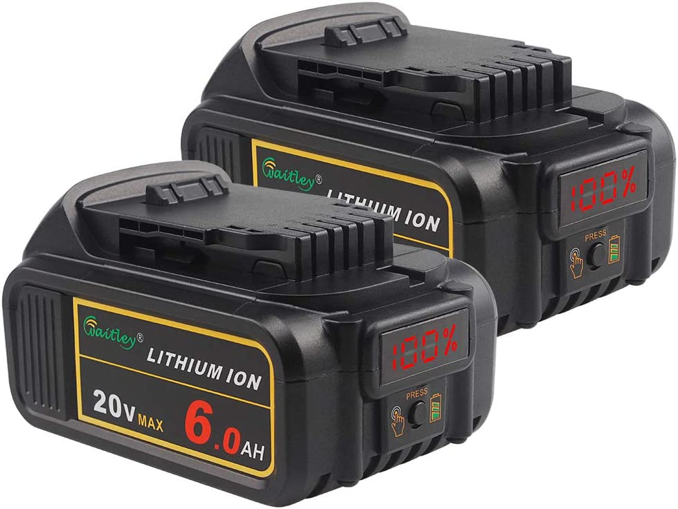 2 Pack Waitley DCB206-2 20V MAX 6.0Ah Lithium Ion Premium Battery Compatible with DEWALT XR DCB200 DCB204 DCB205 DCB206 DCD/DCF/DCG Series Tools with LED Indicator