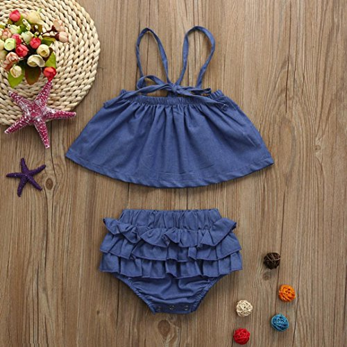 e727e1c94 Fineser 2PCS Infant Toddler Baby Girls Summer Strap Ruffle Denim ...
