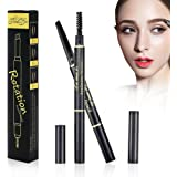 2Pcs Double Headed Eyebrow Pencil with Brow Brush Automatic Makeup Cosmetic Tool Waterproof and Long Lasting