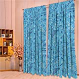 ZHICASSIESOPHIER Modern Style Room Darkening Blackout Window Treatment Curtain Valance for Kitchen/Living Room/Bedroom/Laundry,Scientific Drawing Doodles Rulers Studying 108Wx84L Inch