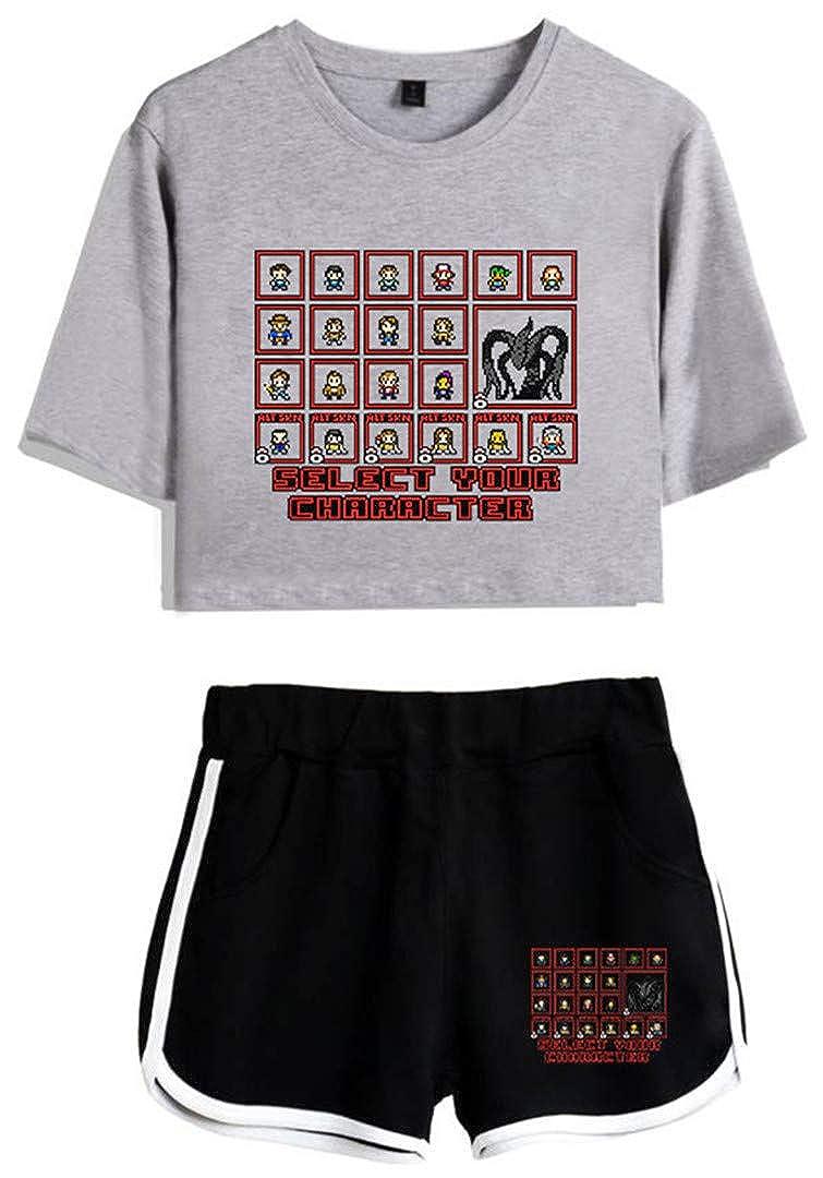 Silver Basic T-Shirt Sportive Crop Top /& Pantaloncini con Stampa Stranger Things Tute da Ginnastica Estive Donna