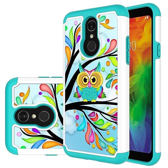 new style 9c855 27d69 LG Q7 Case, LG Q7 Plus Case, MAIKEZI Hybrid Dual Layer TPU Plastic Armor  Defender Phone Case Cover for LG Q7+/LG Q7 Alpha/Q7α (Armor Green Owl)