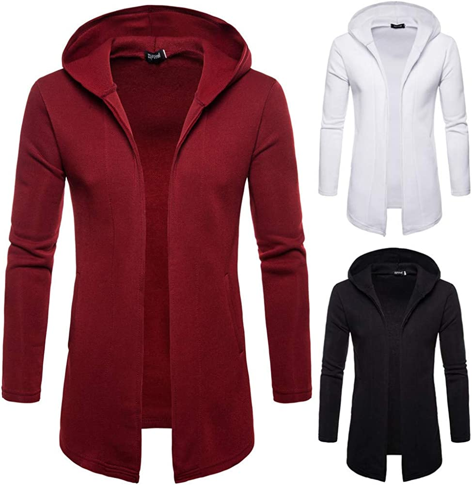 iLXHD Mens Hooded Solid Trench Coat Jacket Cardigan Long Sleeve Outwear Blouse
