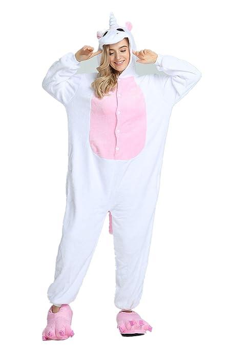 KiKa Monkey Unisex Unicornio Adulto Ropa de Hombre Animal Pijamas Traje de Cosplay Pijamas de Navidad (Ala rosada, M)