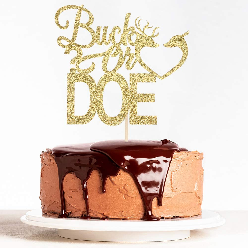 WeBenison Gold Glitter Buck or Doe Cake Topper Boy and Girl Baby Shower Party Supplies Decor Gender Reveal Party Decoration