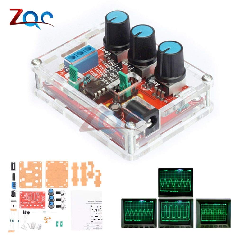 1HZ-1MHZ XR2206 Function Signal Generator DIY Kit Sine//Triangle//Square Output Signal Generator Adjustable Frequency Amplitude