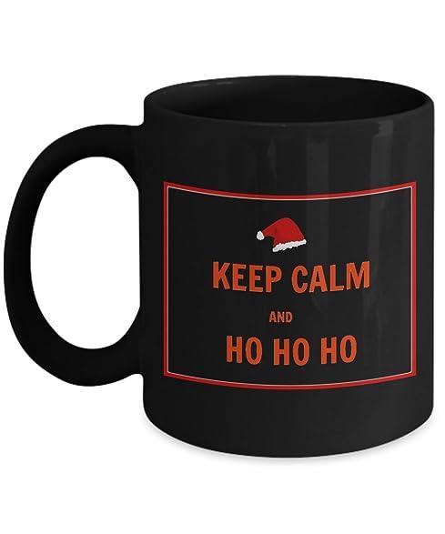 Beautiful Funny Christmas Coffee Mug U2013 KEEP CALM AND HO HO HO U2013 Black 11oz Ceramic  Coffee
