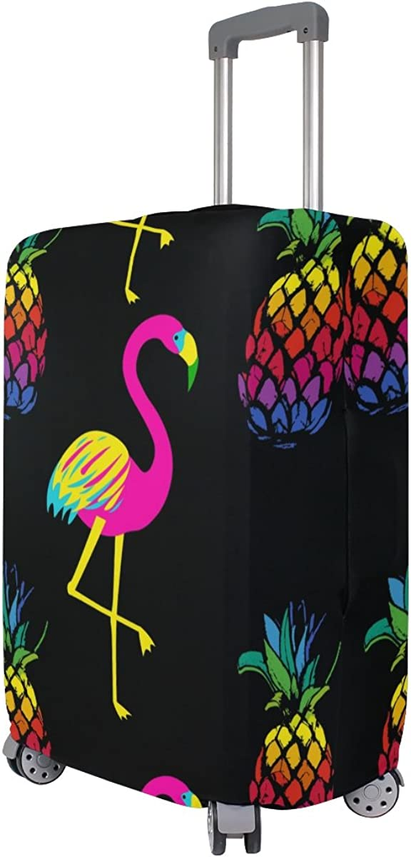 Elastic Travel Luggage Cover Colorful Flamingos Black Suitcase Protector for 18-20 Inch Luggage