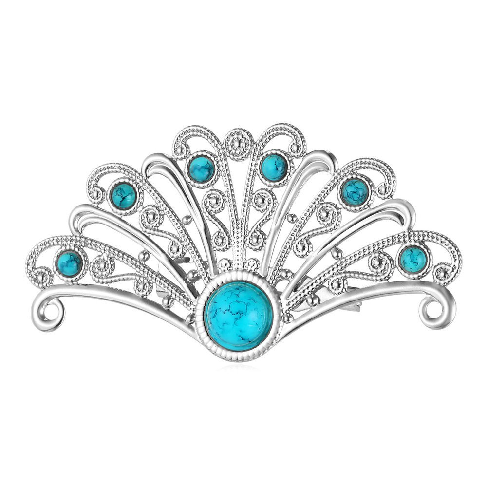 U7 Platinum Plated Synthetic Turquoise Crystal Antique Inspire Peacock Bird Tail Custom Pin Brooch