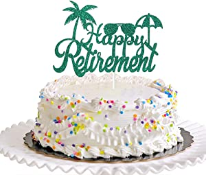 Dill-Dall Green Happy Retirement Cake Topper, Retirement Party Decorations Supplies, Retired AF Sign, Retirement Decor for Men or Women