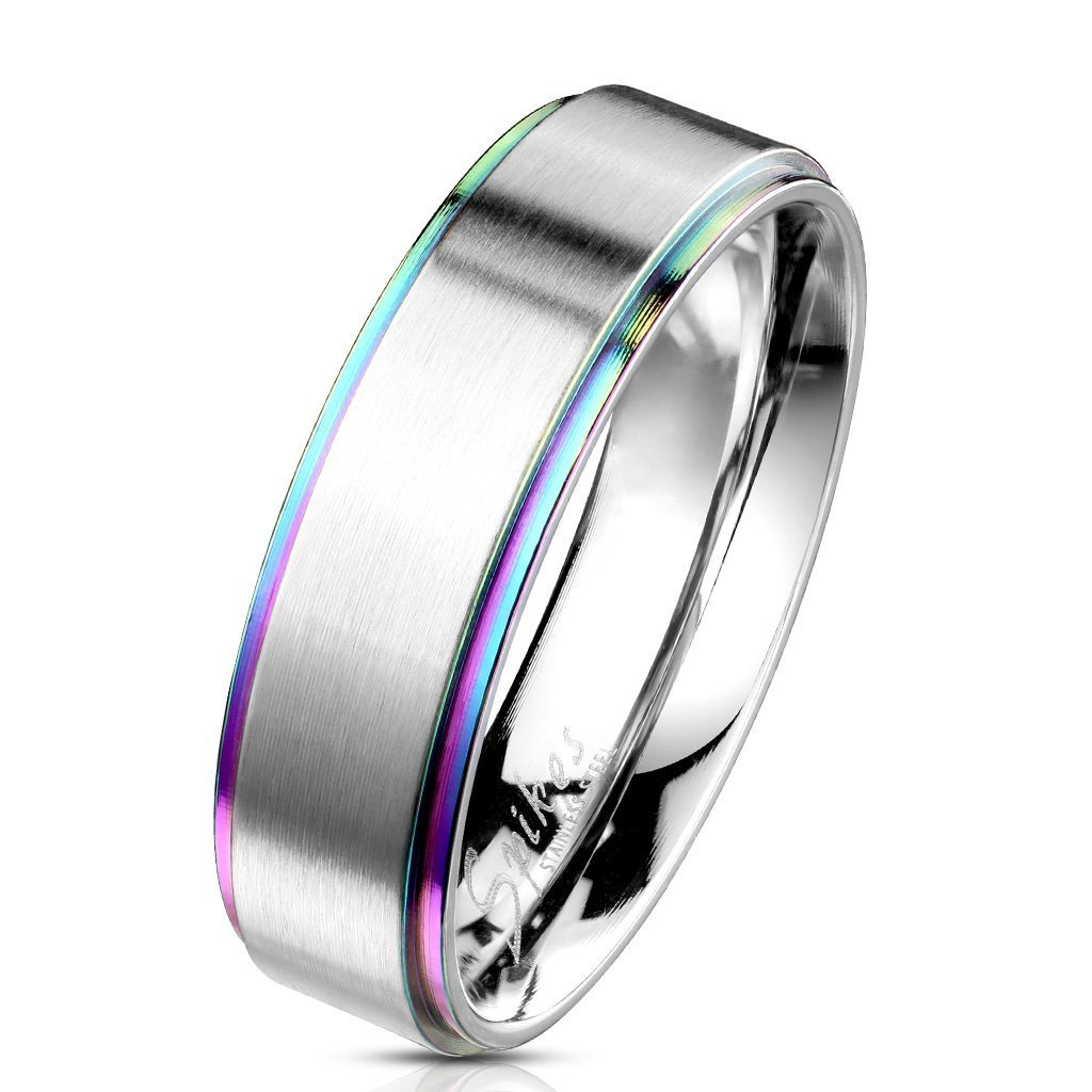 S/&H JEWELRY Rainbow IP Stepped Edges with Brushed Finish Center 316L Stainless Steel Classic Band Rings
