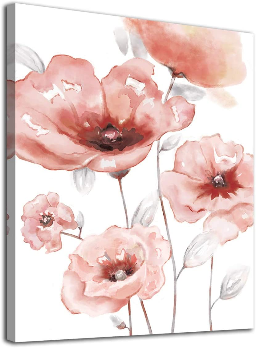 """Flowers Wall Art Abstract Canvas Pictures Bathroom Bedroom Living Room Wall Decor Light Elegant Pink Popy Canvas Picture Blossom Contemporary Botanic Canvas Artwork Framed Ready to Hang 12"""" x 16"""""""