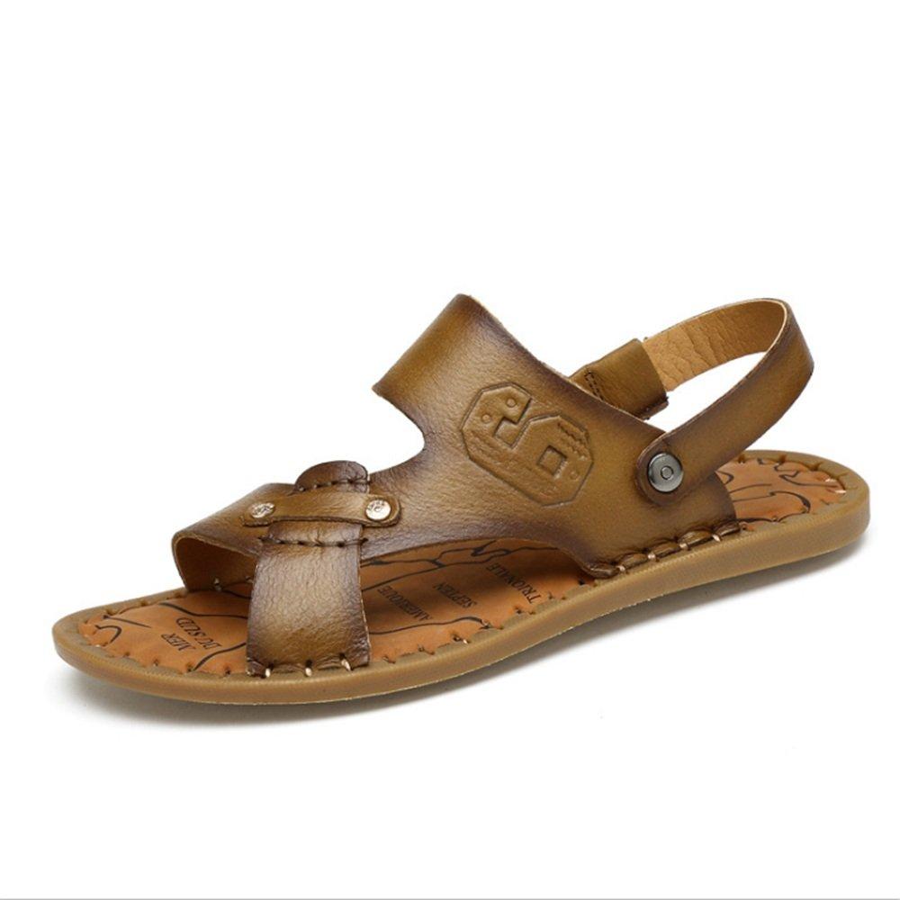 Sandale Männer Im Freien Freizeit und Anti-Rutsch-Strand Schuhe mit Kühlen Hausschuhe (24,0-27,0) cm (Farbe : Braun, Größe : 40 EU) Braun